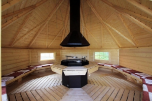 Inside the shared BBQ cabin